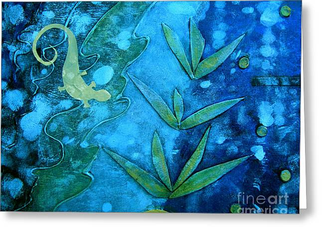 Blue And Green Mixed Media Greeting Cards - Chameleon  Greeting Card by Ann Powell