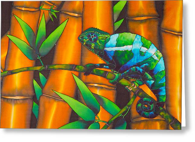 Stretched Canvas Tapestries - Textiles Greeting Cards - Chameleon Greeting Card by Daniel Jean-Baptiste
