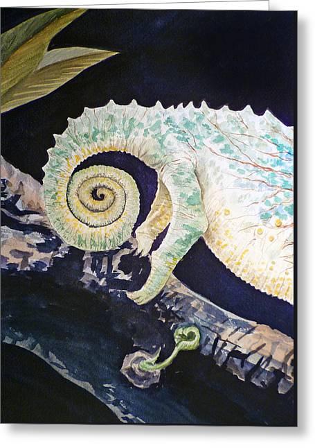 Chameleon Tail Greeting Card by Irina Sztukowski