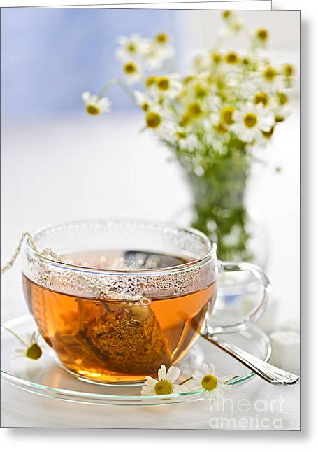 Medical Greeting Cards - Chamomile tea Greeting Card by Elena Elisseeva