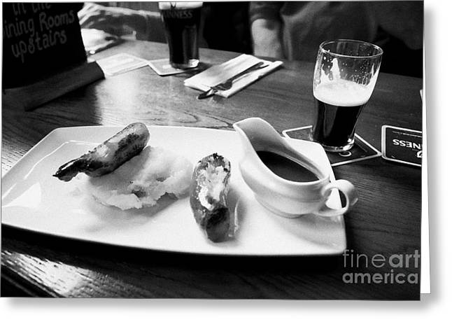 Champs Greeting Cards - Champ And Sausages With Guinness For Lunch In A Pub In Ireland Greeting Card by Joe Fox