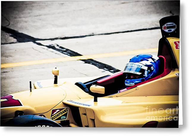 Indy Car Greeting Cards - Champ Car Driver Greeting Card by Darcy Michaelchuk