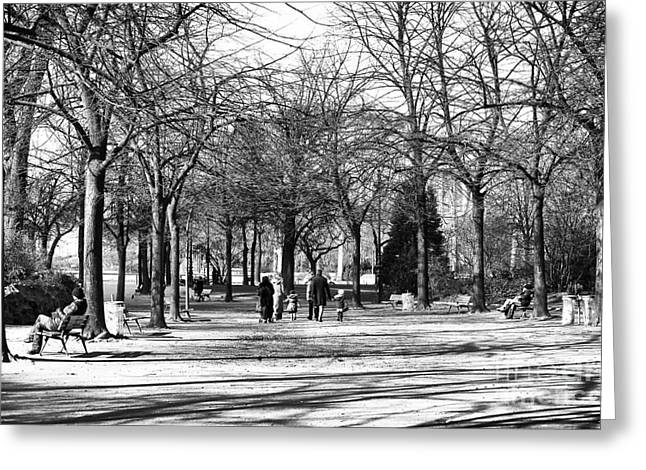 Champs Greeting Cards - Champ de Mars Stroll Greeting Card by John Rizzuto