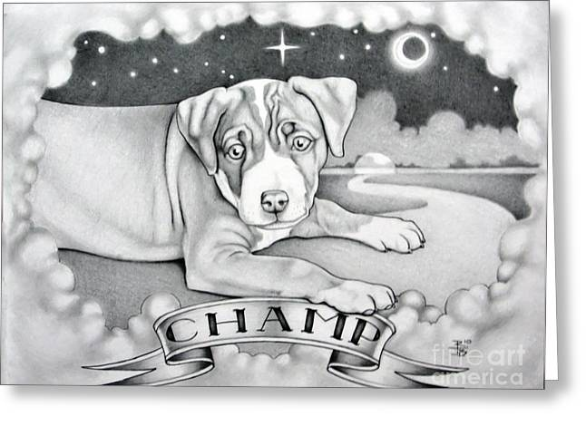 Puppies Drawings Greeting Cards - Champ Greeting Card by Robert Ball