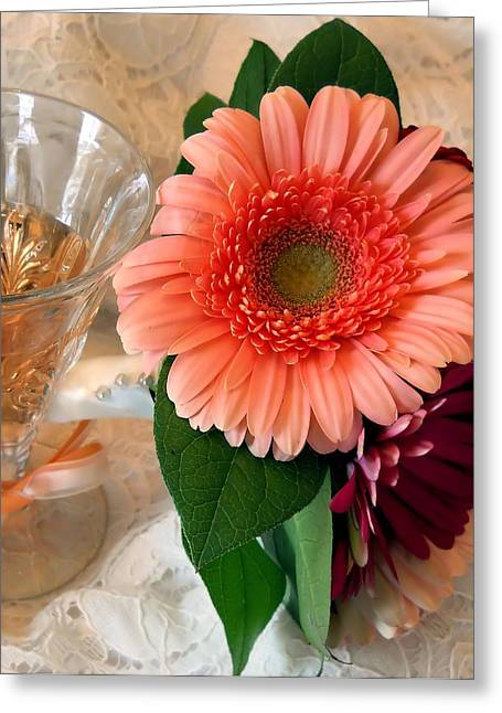 Champagne Glasses Greeting Cards - Champagne and Daisies Greeting Card by Lynnette Johns