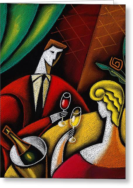 Concept Paintings Greeting Cards - Champagne and Love Greeting Card by Leon Zernitsky