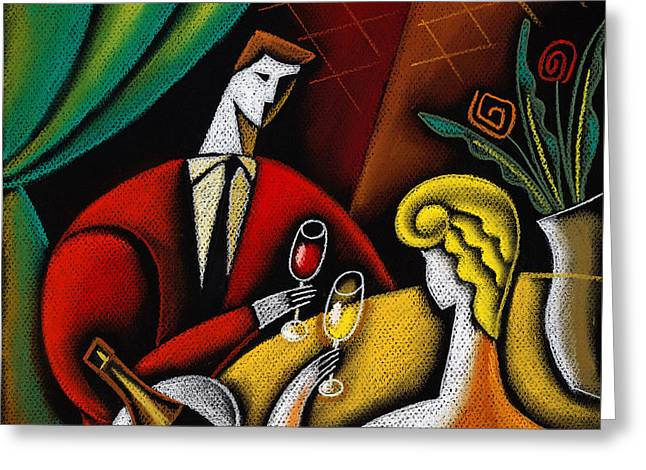 Champagne And Love Greeting Card by Leon Zernitsky