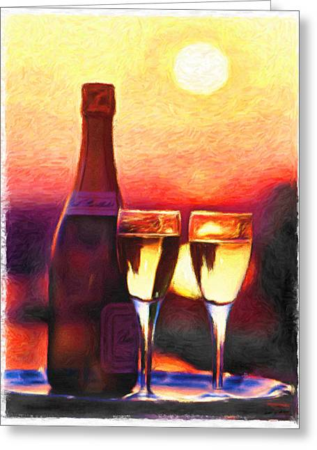 Champagne Glasses Digital Greeting Cards - Champagne at sunset Greeting Card by Peter G Dobson