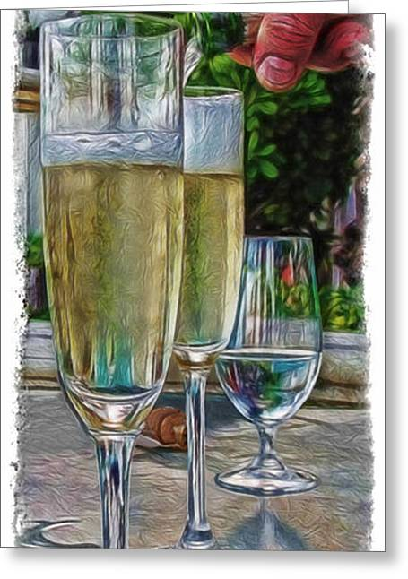Champagne Glasses Greeting Cards - Champagne at the Beach Greeting Card by Joan  Minchak
