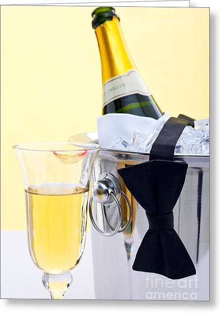 Best Sellers -  - Champagne Glasses Greeting Cards - Champagne black tie and lipstick Greeting Card by Richard Thomas