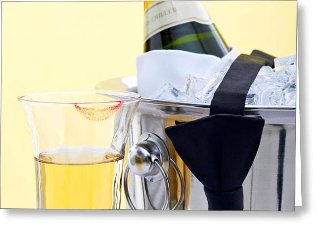 Champagne black tie and lipstick Greeting Card by Richard Thomas