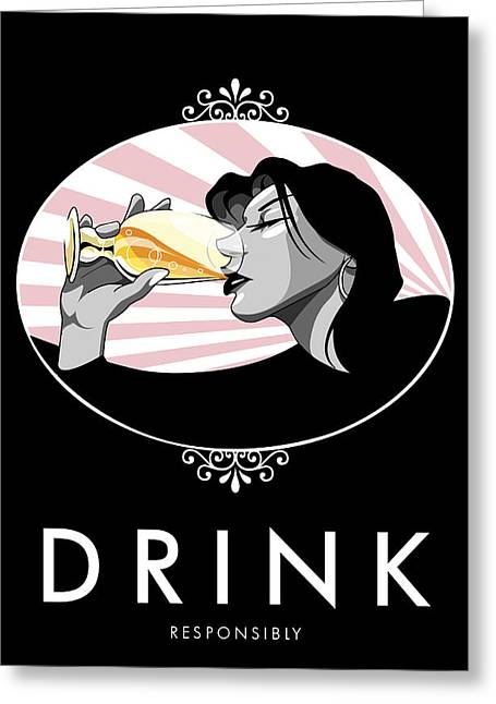 Champagne Drinking Woman Propaganda Style Greeting Card by Jay Reed