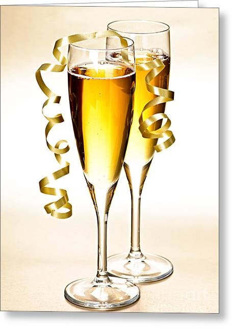 Festivities Greeting Cards - Champagne glasses Greeting Card by Elena Elisseeva