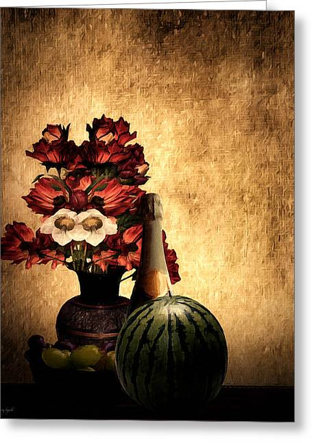 Red Wine Bottle Greeting Cards - Champagne Supernova Greeting Card by Lourry Legarde