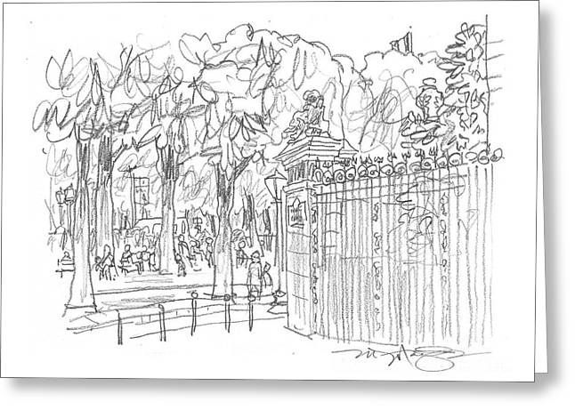 Champ Drawings Greeting Cards - Champs Elysee Gate Greeting Card by Marilyn MacGregor