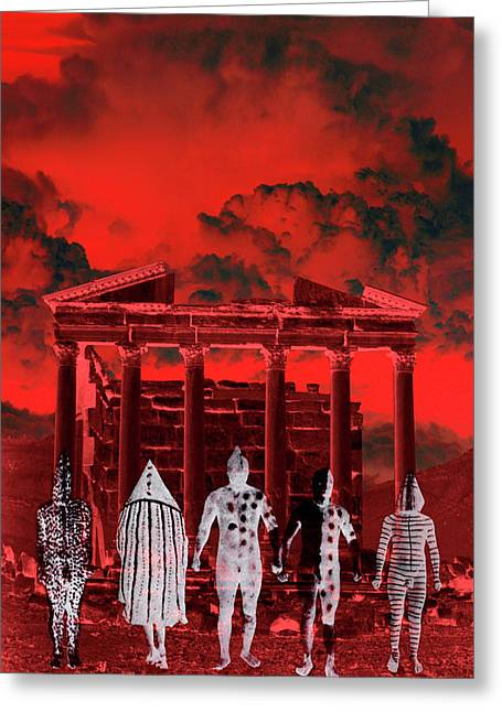 Shamanism Greeting Cards - Chance Encounter in the City of the Dead Greeting Card by Mark Myers