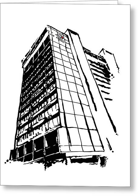Restoration Drawings Greeting Cards - Chancellor Hotel in Fayetteville AR Greeting Card by Amanda  Sanford