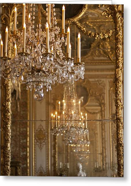 Candleholder Greeting Cards - Chandelier at Versailles Greeting Card by Nomad Art And  Design