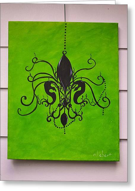 Hebert Greeting Cards - Chandelier Painting Greeting Card by Marian Hebert