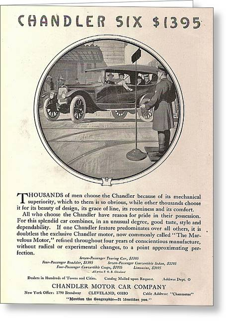 Chandler Greeting Cards - Chandler Model Six Touring Car Greeting Card by Nomad Art And  Design