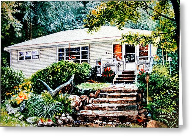 Photograph Of Artist Paintings Greeting Cards - Chandos Lake Cottage Greeting Card by Hanne Lore Koehler