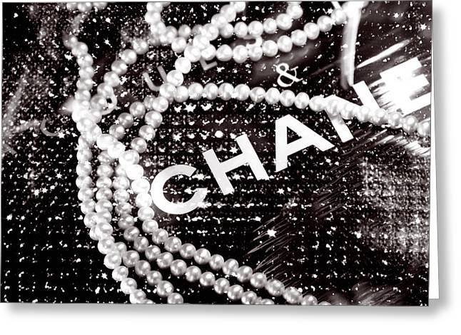 Black Greeting Cards - Chanel Greeting Card by LisaEryn