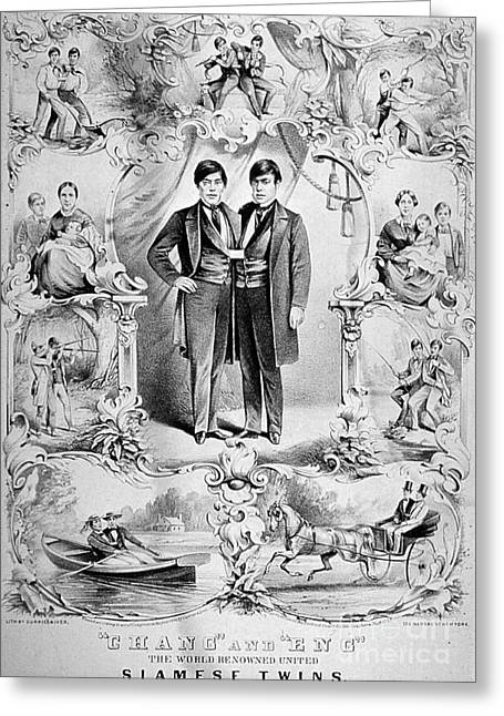 Chang Greeting Cards - Chang And Eng Bunker, The Original Greeting Card by Science Source