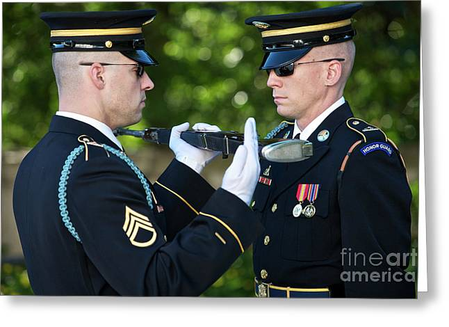 Cover The Face Greeting Cards - Changing Of Guard At Arlington National Greeting Card by Terry Moore
