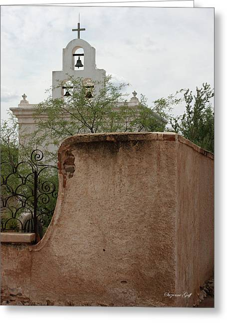 Catholic Mission Greeting Cards - Chapel at Mission San Xavier del Bac Greeting Card by Suzanne Gaff