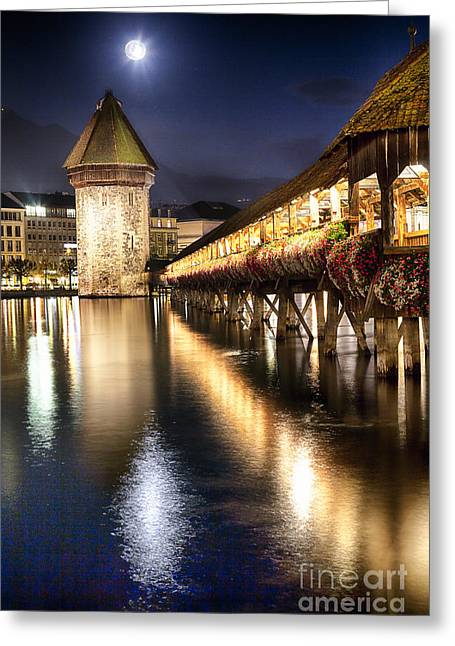 Various Greeting Cards - Chapel Bridge at Night in Lucerne Greeting Card by George Oze