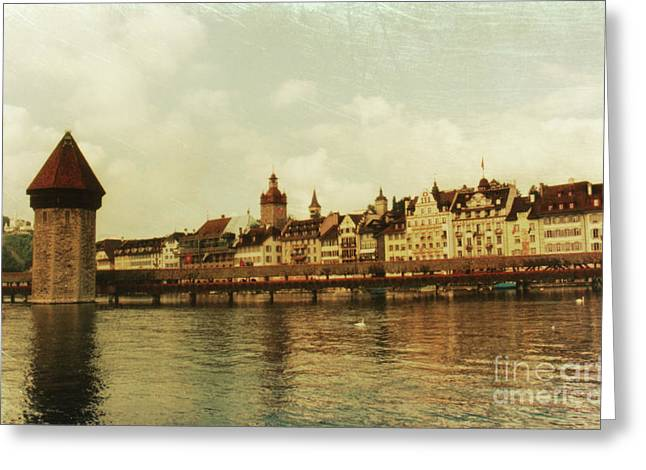 Texture Greeting Cards - Chapel Bridge Lucerne Switzerland Greeting Card by Susanne Van Hulst