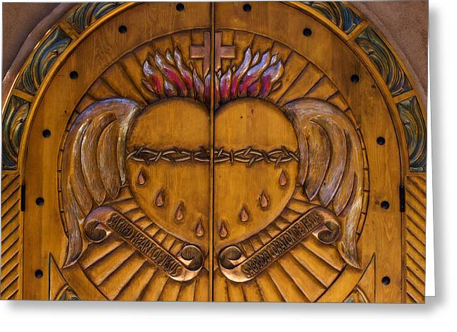 Chapel Doors Greeting Card by Carol Leigh