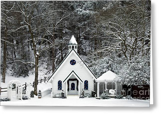 Gatlinburg Tennessee Greeting Cards - Chapel in the Snow - D007592 Greeting Card by Daniel Dempster