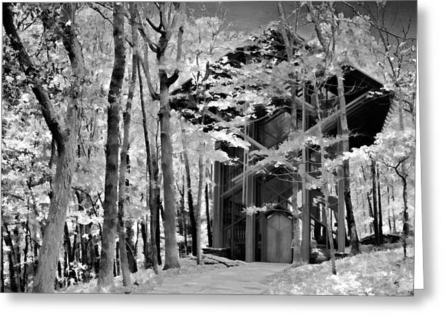 Ozark Mountains Greeting Cards - Chapel In The Woods - Infrared Greeting Card by Lana Trussell