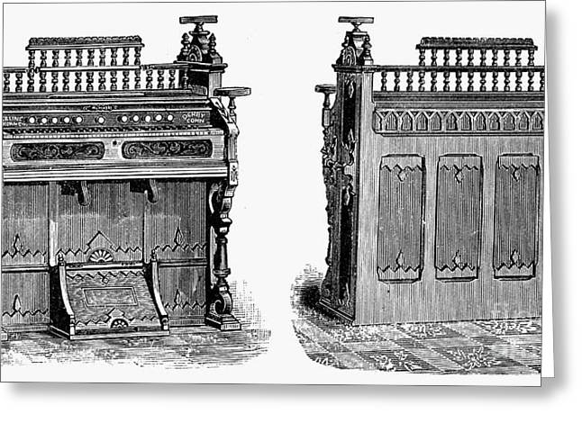 19th Century America Greeting Cards - CHAPEL ORGAN, 19th CENTURY Greeting Card by Granger