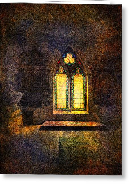Soaring Tower Greeting Cards - Chapel window Greeting Card by Svetlana Sewell