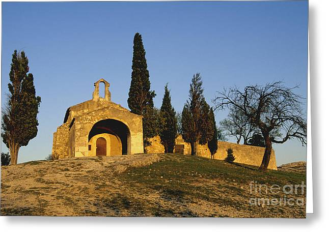 Chapelle d'Eygalieres en Provence. Greeting Card by BERNARD JAUBERT