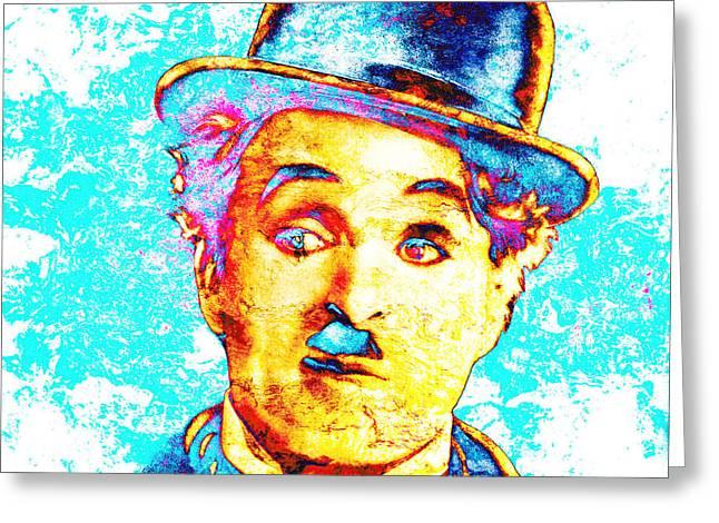 Charly Greeting Cards - Chaplin Pop Greeting Card by Jose Espinoza