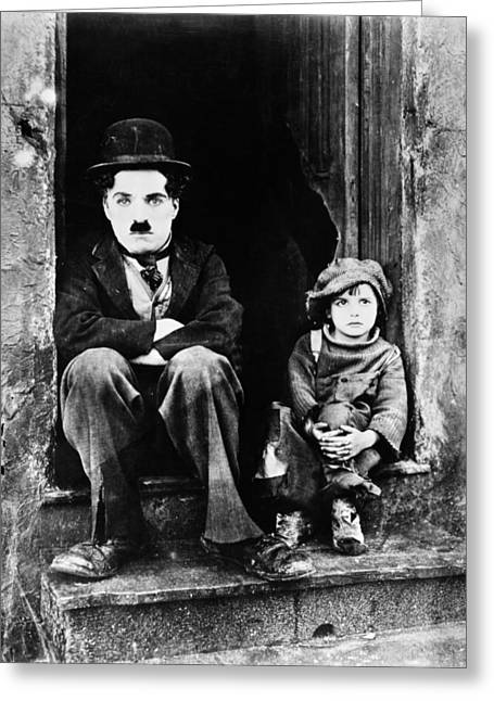 Charlie Chaplin Greeting Cards - Chaplin: The Kid, 1921 Greeting Card by Granger
