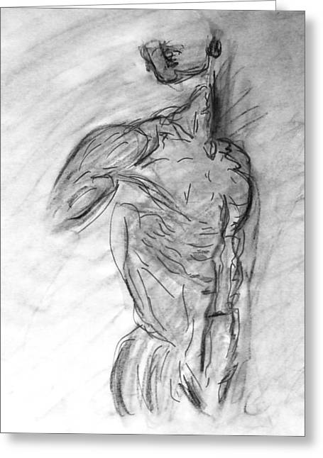 Charcoal Classic Jesus Male Nude Looking Over Shoulder Sketch In A Sensual Primal Erotic Black White Greeting Card by M Zimmerman