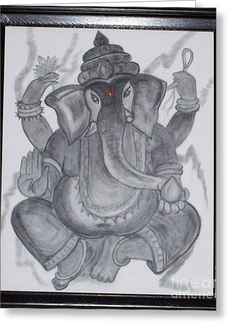 Pencil On Canvas Greeting Cards - Charcoal Ganesh Greeting Card by Anu Darbha