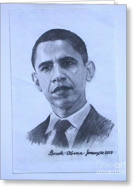Photos Of Cats Drawings Greeting Cards - portrait of Barack Obama Greeting Card by Sarah Mariam Yi