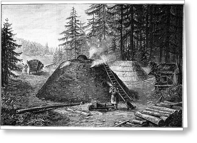 Charcoal Production, 19th Century Greeting Card by
