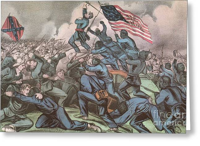 Negro Greeting Cards - Charge Of The 54th Massachusetts Greeting Card by Photo Researchers