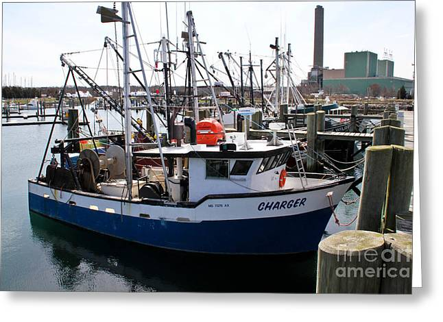 Boats In Water Greeting Cards - Charger Greeting Card by Extrospection Art