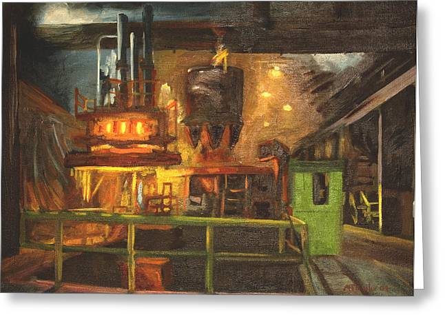 Factory Paintings Greeting Cards - Charging the Arc Furnace Greeting Card by Martha Ressler