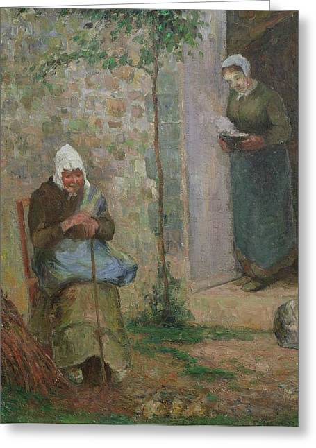 Charity Paintings Greeting Cards - Charity Greeting Card by Camille Pissarro