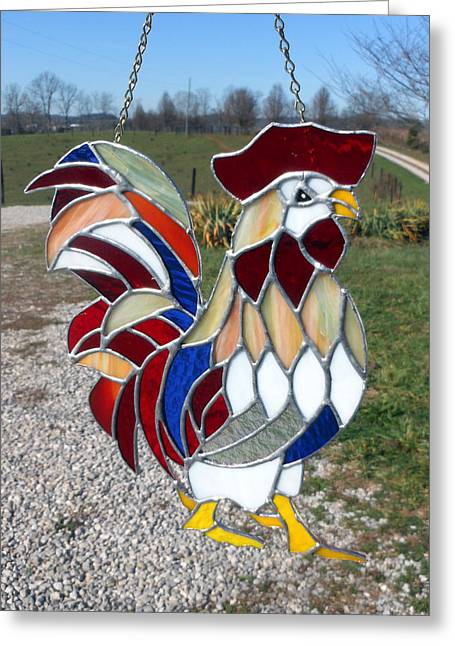 Birds Glass Art Greeting Cards - Charlemagne a stained glass rooster Greeting Card by Arlene  Wright-Correll