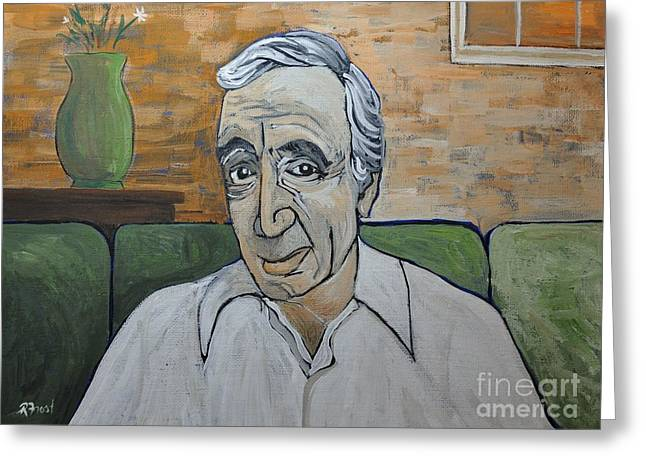 Award Greeting Cards - Charles Aznavour Greeting Card by Reb Frost