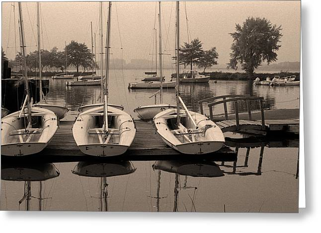 Boston Pyrography Greeting Cards - Charles Boats Greeting Card by Carl Licence